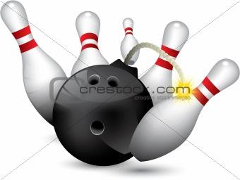 Bowling ball bomb crashing into the pins