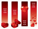 Vector Valentine's Day banners with hearts
