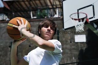Basketball Player with Blurred Background