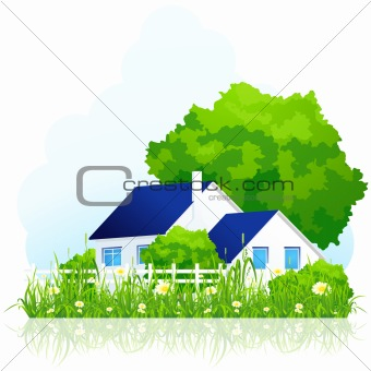country house in grass