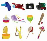 cartoon child toy icon set
