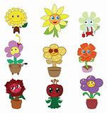 cartoon flower fairy icon set