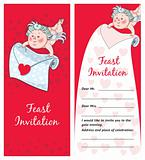 Cupid with a letter, Valentine`s day postcard, Invitation
