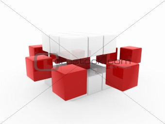 3d cube red white