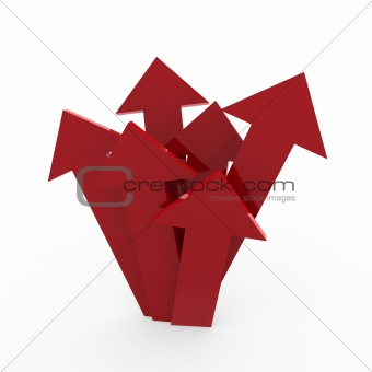 3d arrow high red