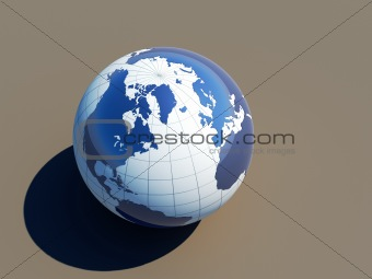 3d earth on grey background