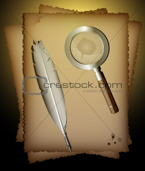 old paper, feather-pen and magnifier