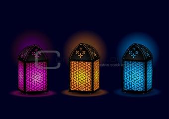 Beautiful Egyptian lamps - Vector Illustration