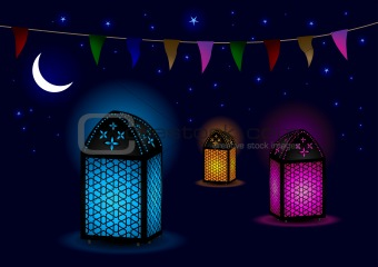 Beautiful Islamic Lamps with Crescent and Stars - Vector
