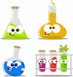 Cute cartoon science flasks and beakers
