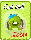 Get well soon greeting with sick dog
