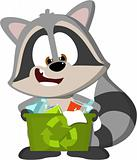 cute cartoon raccoon recycling