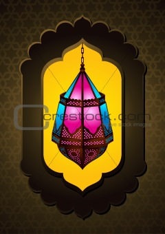 Beautiful Islamic Lamp in arch - Vector Illustration