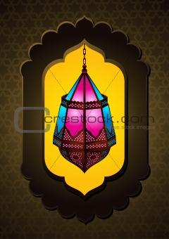 Beautiful Islamic Lamp in arch - Vector Illustration