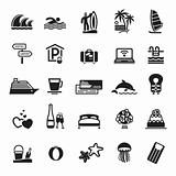 Signs. Vacation, Travel &amp; Recreation. Third set icons in black