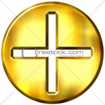 3D Golden Famed Addition Symbol
