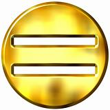 3D Golden Framed Equality Symbol
