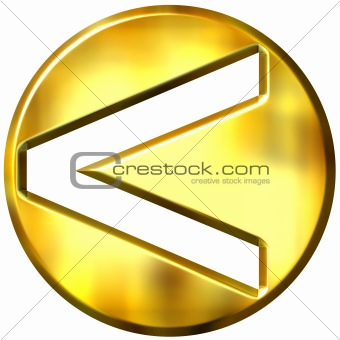 3D Golden Framed Strict Inequality Symbol