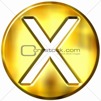3D Golden Framed Multiplication Symbol