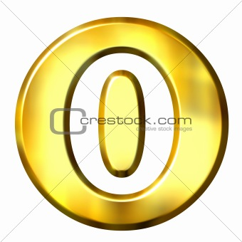 3D Golden Framed Number 0