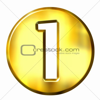 3D Golden Framed Number 1