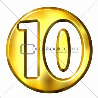 3D Golden Framed Number 10