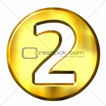 3D Golden Framed Number 2