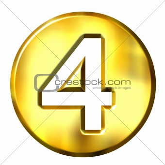 3D Golden Framed Number 4