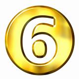 3D Golden Framed Number 6