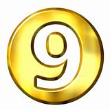 3D Golden Framed Number 9