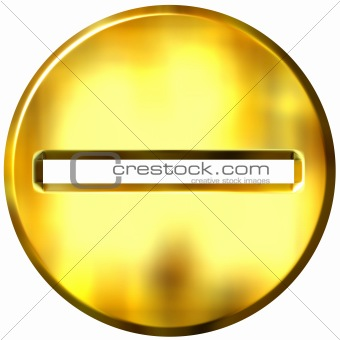 3D Golden Framed Subtaction Symbol