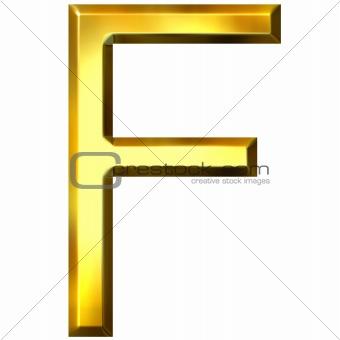 3D Golden Letter F