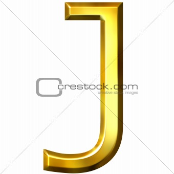 3D Golden Letter J