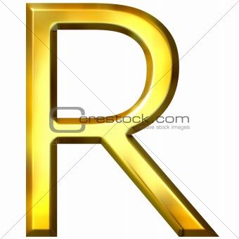 3D Golden Letter R