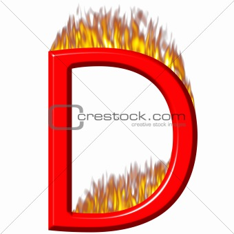 3D Letter D on Fire