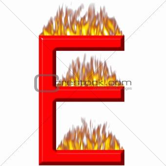 3D Letter E on Fire