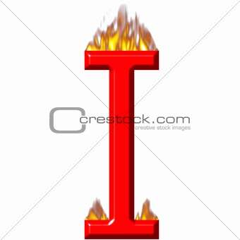 3D Letter I on Fire