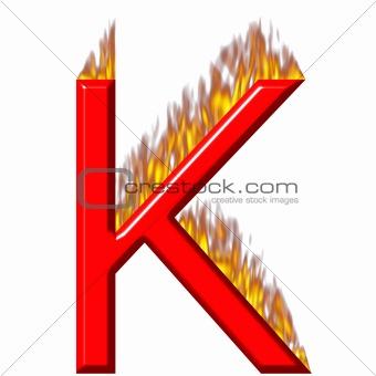3D Letter K on Fire
