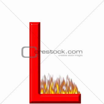 3D Letter L on Fire