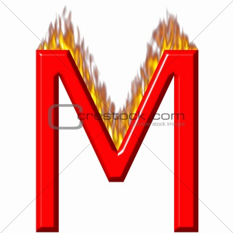 3D Letter M on Fire