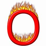3D Letter O on Fire