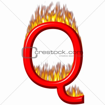 3D Letter Q on Fire