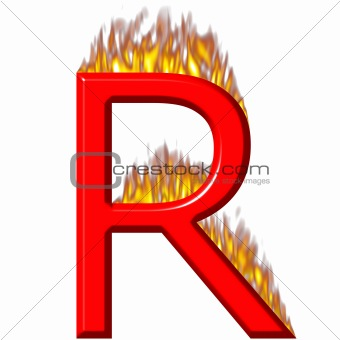 3D Letter R on Fire