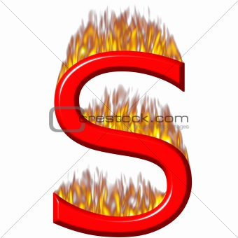 3D Letter S on Fire