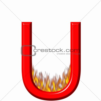 3D Letter U on Fire