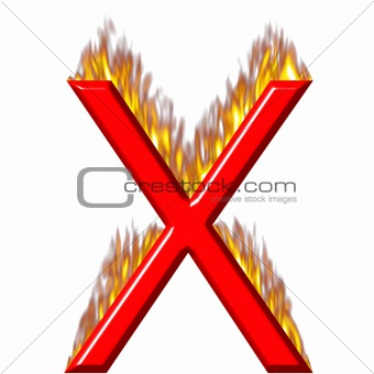 3D Letter X on Fire