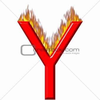 3D Letter Y on Fire