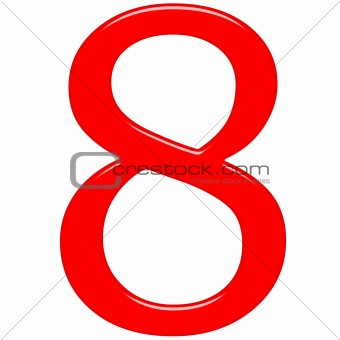 3D Red Number 8