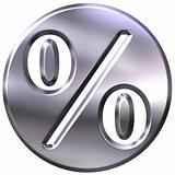 3D Silver Framed Percentage Symbol