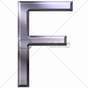 3D Silver Letter F